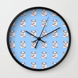 Maneki neko red version 2 Wall Clock