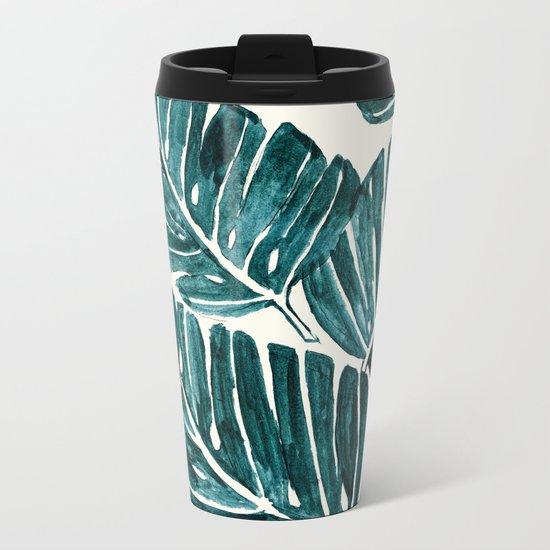 Jungle Leaves Metal Travel Mug