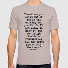 Charles Bukowski Typewriter Quote Morning MEDIUM Cinder Mens Fitted Tee