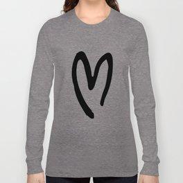 Black and White Heart Long Sleeve T-shirt