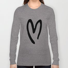 Black and White Heart Long Sleeve T-shirt