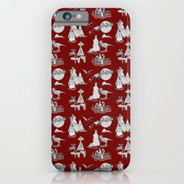 Outlandish Christmas Toile Pattern - red background with monochromatic design iPhone Case
