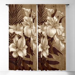 White Lilies and Palm Leaf in brownscale Blackout Curtain