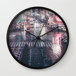 Rainy Night at Shibuyacrossing Wall Clock