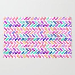 Rainbow Herringbone Watercolor Oblongs Rug