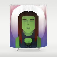 guardians of the galaxy Shower Curtains featuring Guardians of the Galaxy - Gamora by Casa del Kables