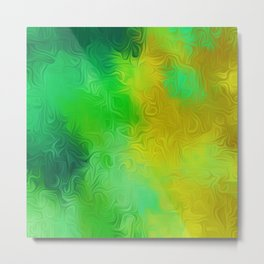 green and yellow painting texture abstract background Metal Print