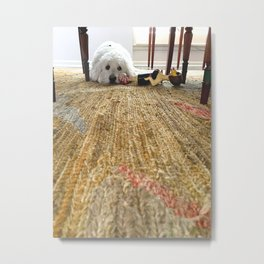 Doodle Dog Under the Table Metal Print