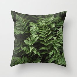Bunches Of Green Fern Leaf Throw Pillow
