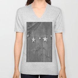 Stars on Wood (Black and White) Unisex V-Neck