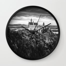 The Castle on the Mountain (Black and White) Wall Clock
