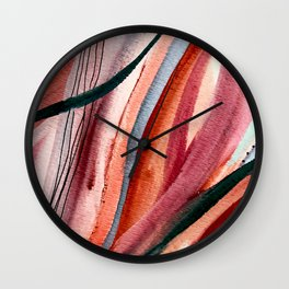 Rollercoaster [2]: a vibrant, mixed media abstract piece in blues, pinks, and purple Wall Clock