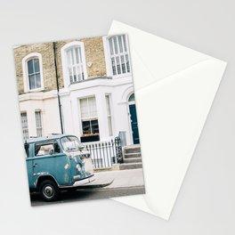 Notting Hill Retro Van - London Travel - Street Architecture Fine Art Stationery Cards
