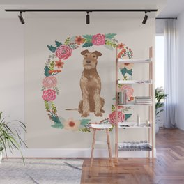 Irish Terrier floral wreath dog breed pet portrait pure breed dog lovers Wall Mural