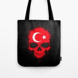 Flag of Turkey on a Chaotic Splatter Skull Tote Bag