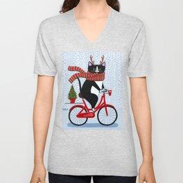 Tuxedo Cat Christmas Bicycle Ride Unisex V-Neck