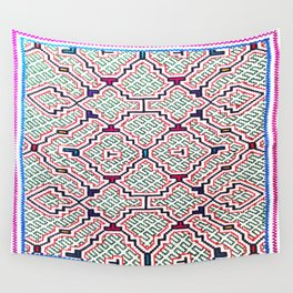 Song for Good Work - Traditional Shipibo Art - Indigenous Ayahuasca Patterns Wall Tapestry