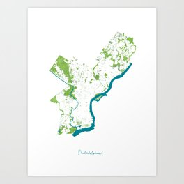 Philadelphia Map - Green Spaces Philly Parks Art Print