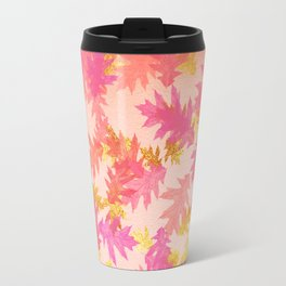 Autumn-world 1 - gold glitter leaves on pink background Travel Mug