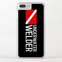 Diver Down Flag: Underwater Welder Clear iPhone Case