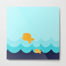 Beach Series Aqua- Gold Fish Animals in the deep See Metal Print