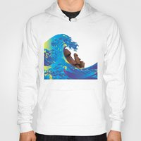 hokusai Hoodies featuring Hokusai Rainbow & Moai by FACTORIE