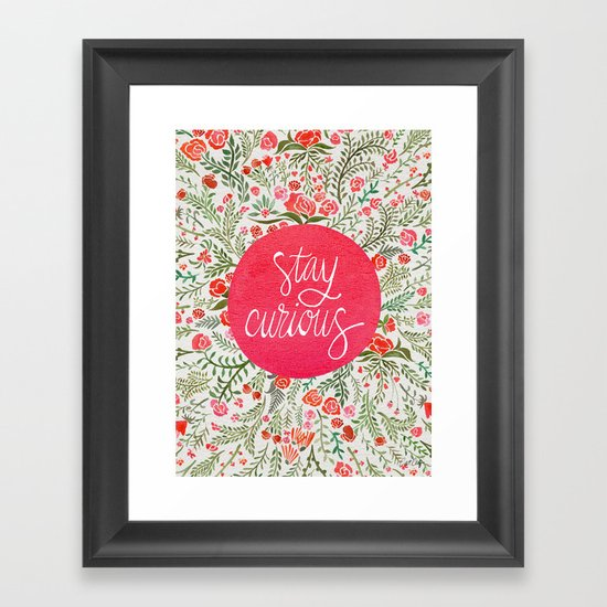 Stay Curious – Pink & Green Framed Art Print