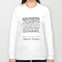 maori Long Sleeve T-shirts featuring Maori Tattoo by Harvey Depp
