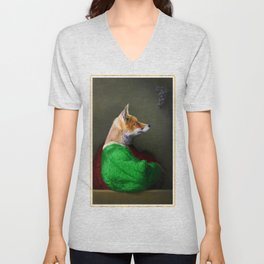 Portrait of the Fox and the Grapes Unisex V-Neck