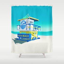 Miami Beach Hut Shower Curtain