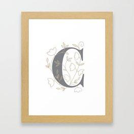 'C' Flower Illustration Framed Art Print