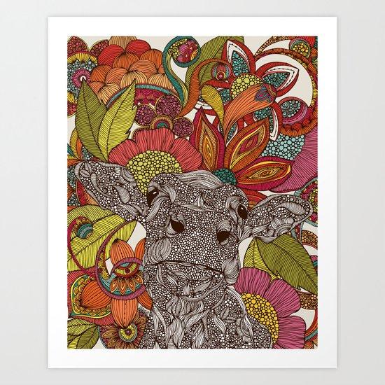 Arabella and the flowers Art Print