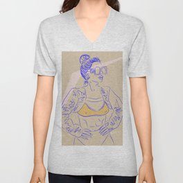 The Future is Female - DUH - Digital Drawing Woman 80s Unisex V-Neck