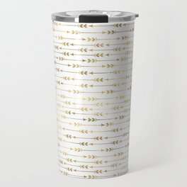 White & Gold Arrow Pattern Travel Mug