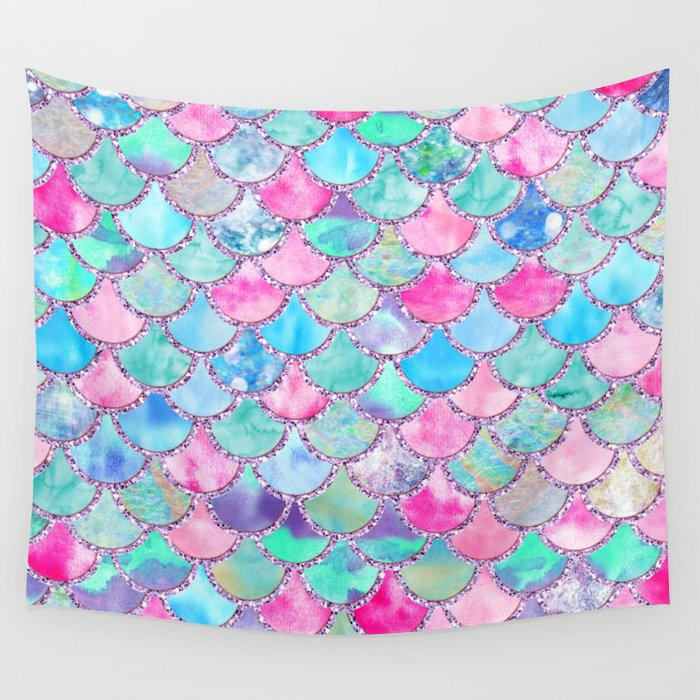 Colorful Pink and Blue Watercolor Trendy Glitter Mermaid Scales  Wall Tapestry