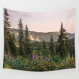 Mount Rainier Wildflower Adventure VII - Pacific Northwest Mountain Forest Wanderlust Wall Tapestry