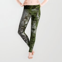 Birch Bark Pattern Green and White Wood Pattern Bring the Outdoors In Leggings