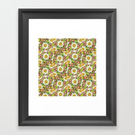 Christmas Daisy and Berries Pattern Framed Art Print