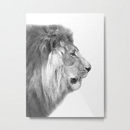 Black and White Lion Profile Metal Print