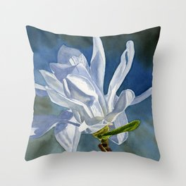 White Star Magnolia Flower with Blue Gray Background Throw Pillow