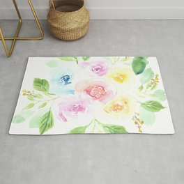 Dreamy and colorful watercolor flowers bouquet Rug