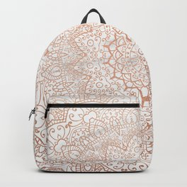 Mandala - rose gold and white marble 3 Backpack