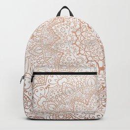 Mandala - rose gold and white marble 3 Backpack