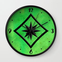 Gem Stone Pattern, Lime Green Jade Slab Wall Clock