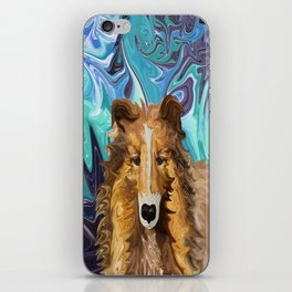 The Inquisitive Collie of the Psychedelic Dog Parade iPhone Skin