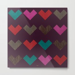 leather geometric love on dark purple Metal Print