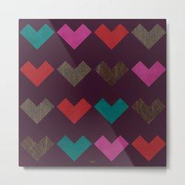 leather geometric love on dark purple Metal Print