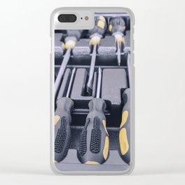 Set of Screwdrivers inside Toolbox, Screwdrivers Set, Box with Set of Tools, Set Mechanical Tools. Clear iPhone Case
