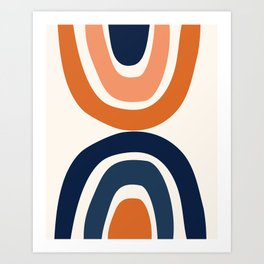 Abstract Shapes 11 in Burnt Orange and Navy Blue Art Print