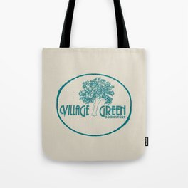 Village Green Bookstore Green on Tan Tote Bag